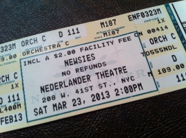 Newsies ticket